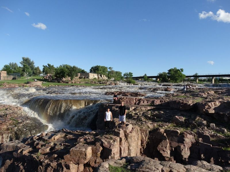 Lost In The Landscape Nature Day Outdoors Waterfall Clear Sky Water Beauty In Nature Sky Scenics Clear Sky Standing Beauty In Nature Nature Sioux Falls Adventures Sioux Falls, South Dakota Rock - Object
