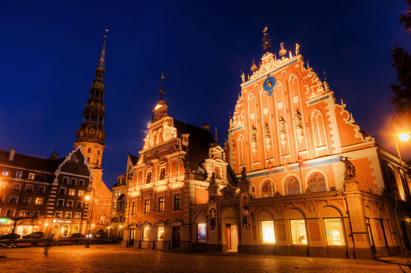 Low angle view of illuminated cathedral at night