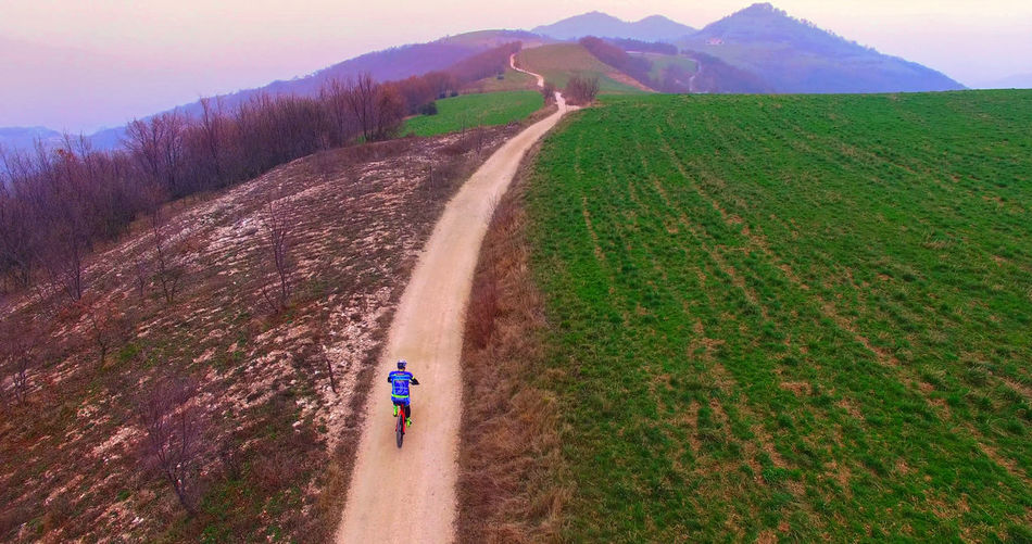 Roads between the Italian hills are ideal routes for cyclists. Agriculture Beautiful Bicycle Bike Colorful Country Countryside Curve Cycling Cyclist Flowers Green Healthy Hill Italy Lifestyle Nature Panorama Relax Road Rural Sport Spring Village Vineyard