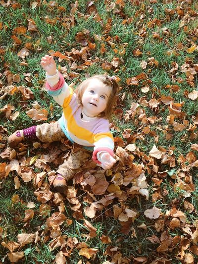 High angle view of girl with autumn leaves