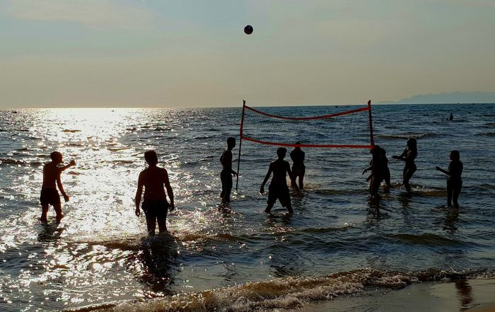 beach ...... Pallavolo Giochi In Spiaggia Mare Sea And Sky Seasports Sea Sports Spiaggia Boy And Girl Sunset Sunset_collection Sunset Silhouettes Toscana Versilia  Versilia Seaside Summertime Summer Game Play Playing Volleyball Water Sea Beach Wave Sunset Adventure Sport Silhouette Men Full Length Water Sport Summer Sports