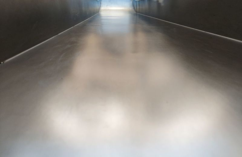 High angle view of empty corridor in building