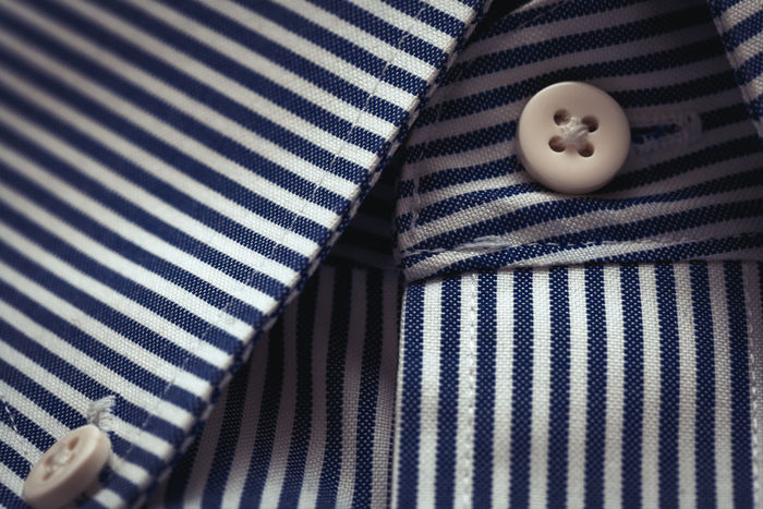 Beautiful Dress Shirt Collar & Buttons Detail - close up. Beautiful Nature Business Butterfly Close-up Clothes Collar Fabric Fashion Formal Horizontal Indoors  Men Mensfashion Menstyle Navy No People Pattern Sewing Shadow Ship Striped Style Tailoring Textile White EyeEmNewHere The Week On EyeEm The Still Life Photographer - 2018 EyeEm Awards