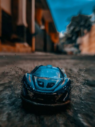 Close-up of toy car on table