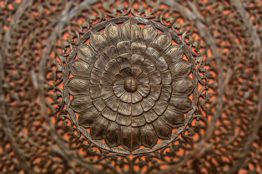 Wood Abstract Backgrounds Brown Close-up Design Floral Pattern Full Frame Handmade No People Pattern Sculpture Selective Focus Single Object Spiral Textured