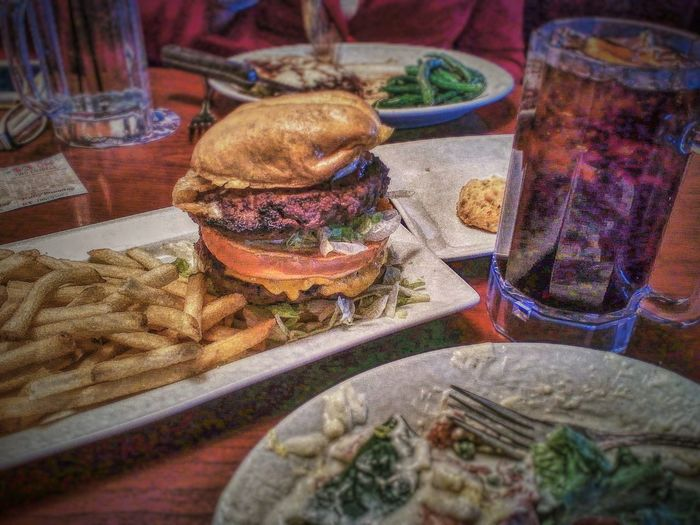 As my wife enjoyed her Asagio Steak during our Saint Valentine's Day Dinnerat Ruby Tuesday , I was challenged by this Colossal Burger - one pound of USDA Prime, Swiss and cheddar cheese, fresh lettuce and tomatoes, and a bunch of tasty chips. Yum! Streamzoofamily