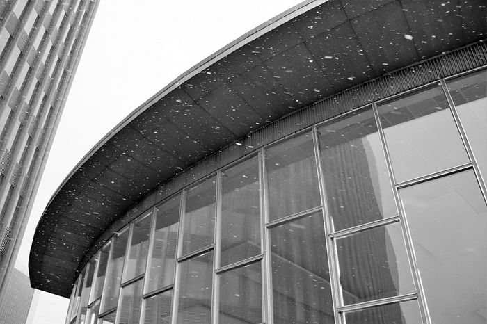 Architecture Low Angle View Built Structure No People Building Exterior Sky Day Outdoors Window Snow City Berlin History Monochrome Black And White Monochrome Photography Blackandwhite Black & White Historical Building Historical Place Museum German History Exit Tears Tränenpalast