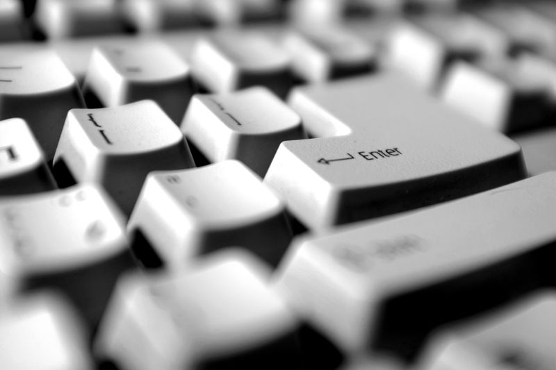 Backgrounds Black & White Black And White Close-up Communication Computer Computer Keyboard Computer Keys Computing Enter Focus On Foreground High Angle View Indoors  Key No People Selective Focus Still Life Technology
