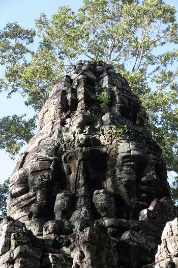 Angkor Architecture Cambodia Day Faces Growth Hinduism Khmer Low Angle View No People Outdoors Siem Reap Sky Srah Srang Stone Architecture Stone Carved Temple Stone Carving Stone Work Temple Tranquil Scene Tree