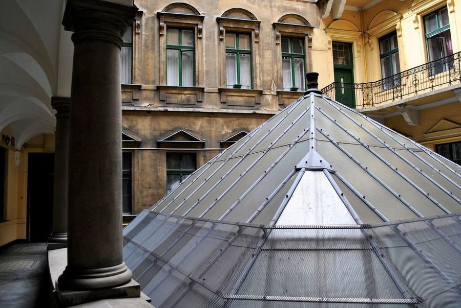 Architectural Column Architecture Budapest Budapest100 Building Exterior Built Structure Corridor Day Glass Glass Pyramid Horizontal No People Outdoors Pyramid Windows