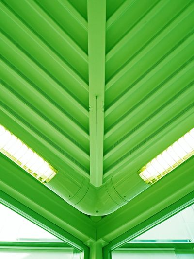 Ceiling Neon Neon Lights Urban Geometry Geometric Shapes Green Metallic Architecture