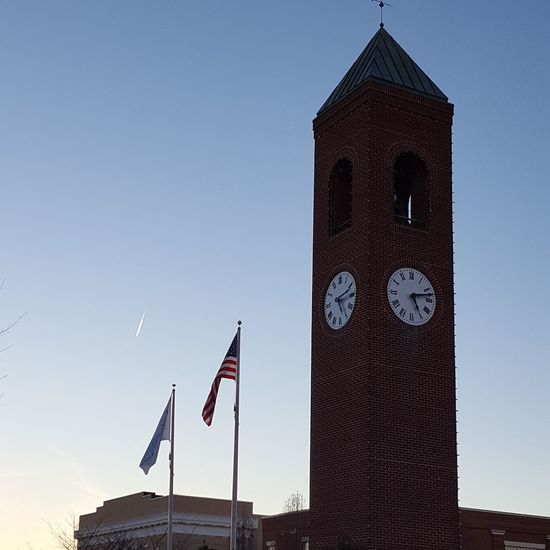 Clock Tower, flags and airplane trails Flag Patriotism No People Day Outdoors Sky Love My Life  Red White And Blue American Flag Spartanburg, SC Flags Clock Tower Airplane Trails Love My Life  Out And About