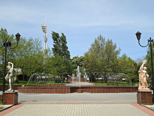City Fountain Idyllic Novorossiysk Outdoors Spring Statues Street Lamps Sunny Day Tranquil Days Tranquil Live Trees