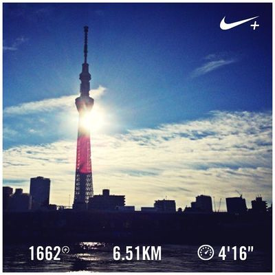 Running Nike Run Skytree スカイツリー GYAKUSOU Nikeplus 隅田川 ランニング Sumida ナイキ 隅田川テラス 言問橋 ラン 親水テラス