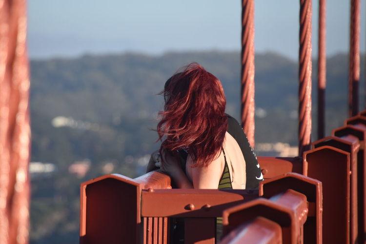 Visitors on the Golden Gate Bridge San Francisco EyeEm Eyeemphotography EyeEm Best Shots San Francisco Golden Gate Bridge Women Red Wavy Hair