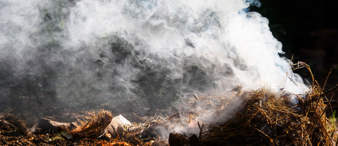 Close up of beautiful puff of smoke from the burning coconut coir Burning Dried Leaves Harmful Nature Smoke Soft Trash Vapor Burn Close-up Coconut Coir Coconut Skins Environment Garbage No People On Fire Outdoors Pollution Puff Recycle