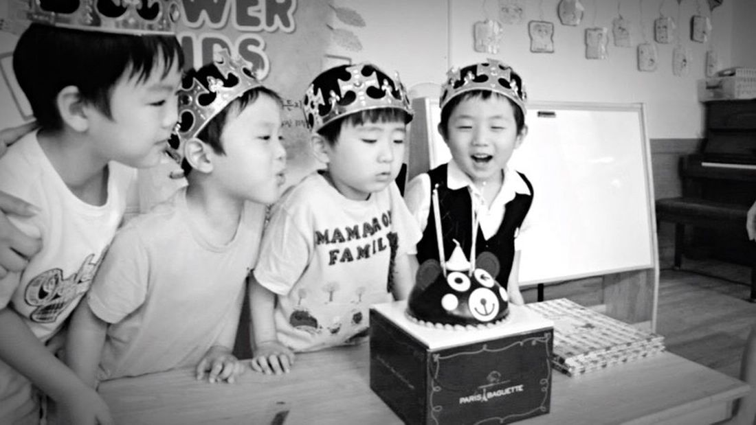Blackandwhite Kids Birthday Party Happy Birthday Blowing Candles
