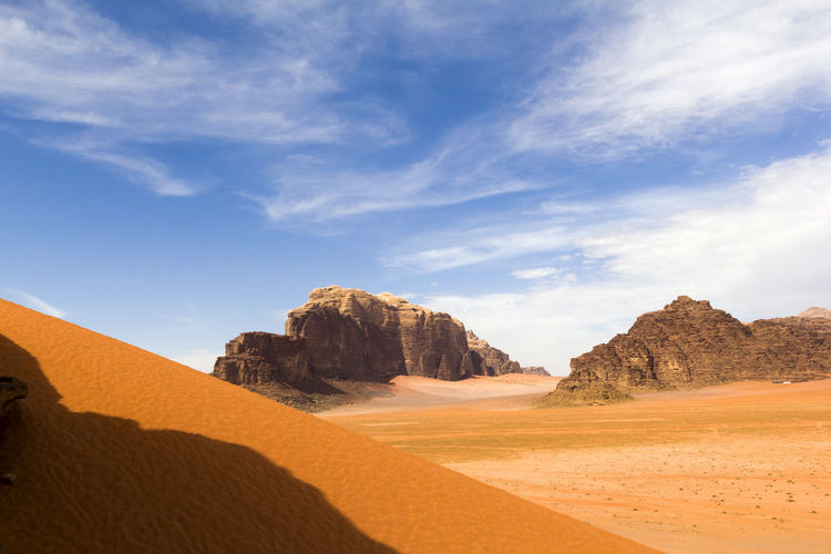 Wadi Rum - Jordan Arid Climate Beauty In Nature Blue Cloud Cloud - Sky Desert Geology Jordan Landscape Nature Panorama Physical Geography Red Rock Formation Sand Scenics Sky Travel Travel Destinations Wadi Rum Landscapes With WhiteWall The Great Outdoors With Adobe The Great Outdoors - 2017 EyeEm Awards