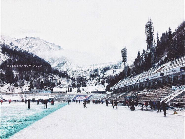 """Medeo Ice Rink⛸❄️🗻 Location: #almaty #snow #mountain Medeu"""" is a sports complex built in the mountain hole Medeo at the altitude of 1691 meters above sea level, near the southern capital of Kazakhstan – Almaty city. • 📷2016 Photographer: @bekzhanovtalgat"""
