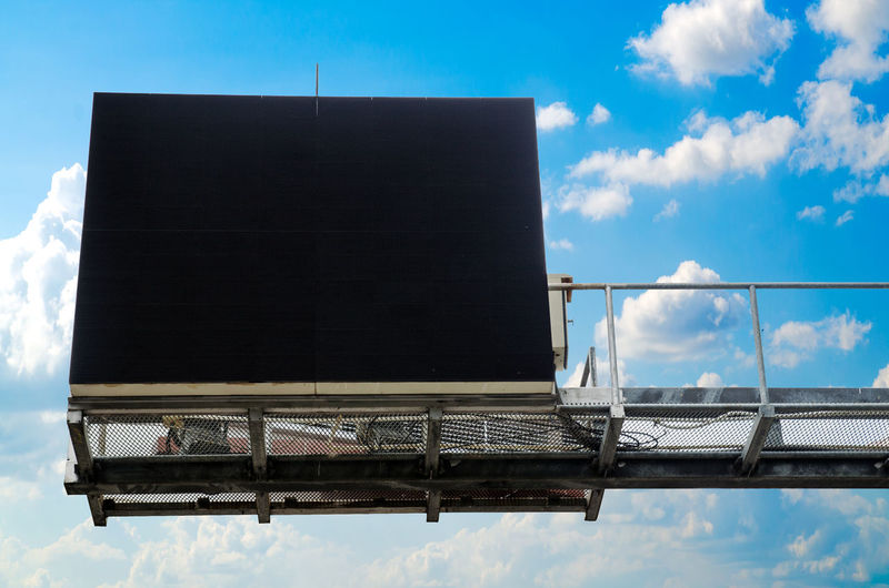 Low Angle View Of Blank Billboard Against Blue Sky