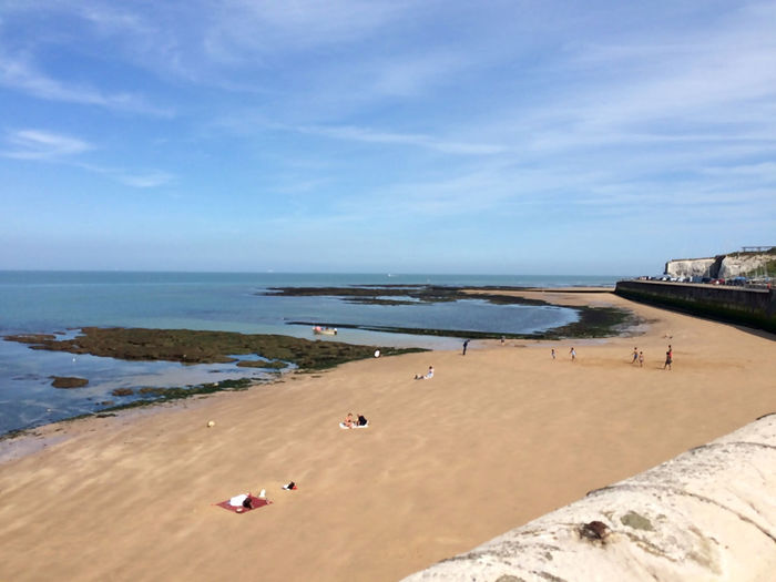 Cliftonville Beach view, Thanet, UK Margate Sea Water Sky Land Beach Sand Nature Day Horizon Over Water Scenics - Nature Horizon Beauty In Nature Incidental People Tranquil Scene Cloud - Sky Tranquility Motion Relaxation Holiday Outdoors