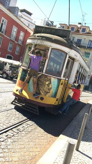Transportation Mode Of Transport City Public Transportation Tram Travel Building Exterior Cable Car Architecture Built Structure Tramway Outdoors Lifestyles City Life Land Vehicle Day Men Real People Boys Portugal Lissabon
