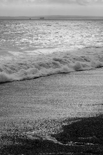 Silvery Sea Sunlight Beach Beauty In Nature Blackandwhite Day Horizon Horizon Over Water Isle Of Wight  Land Motion Nature Outdoors Power In Nature Scenics - Nature Sea Sea Fort Seafort Water Wave