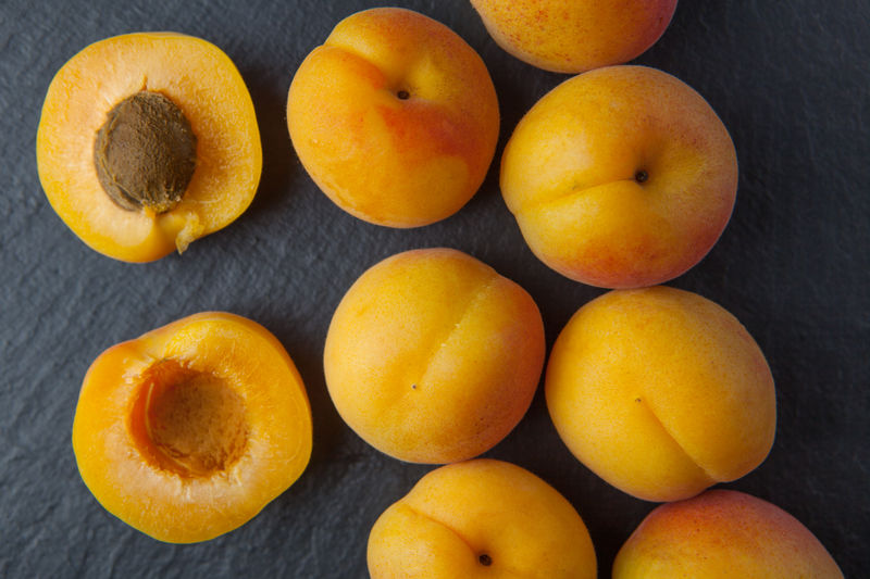 Apricots Apricots Dark Background Food Food And Drink Freshness Fruit Healthy Eating Indoors  No People Overhead View