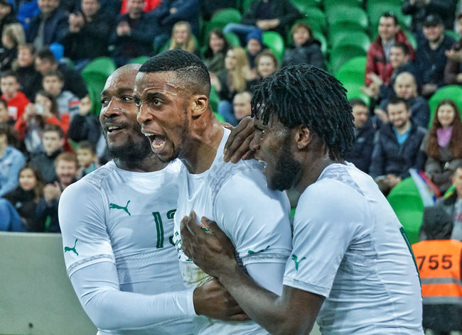 Vitality Happiness Togetherness Real People Celebration Outdoors Soccer Côte D'ivoire Scoring A Goal Sports Team Athlete Match - Sport Stadium Activity Sports Uniform Sports Clothing Professional Sport Sportsman Group Of People The Photojournalist - 2017 EyeEm Awards