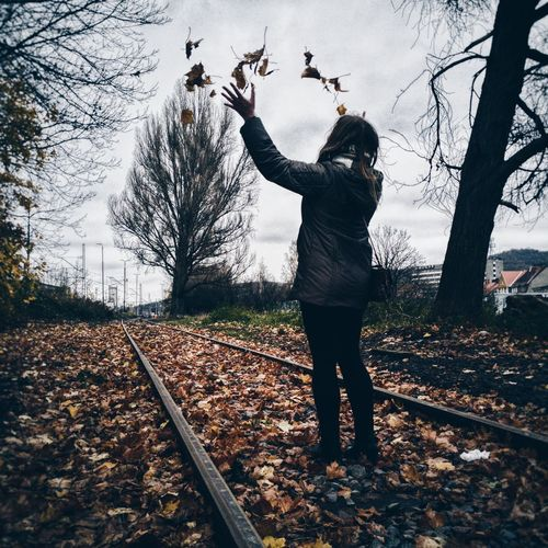 Rear view of woman throwing leaves while standing on field during autumn