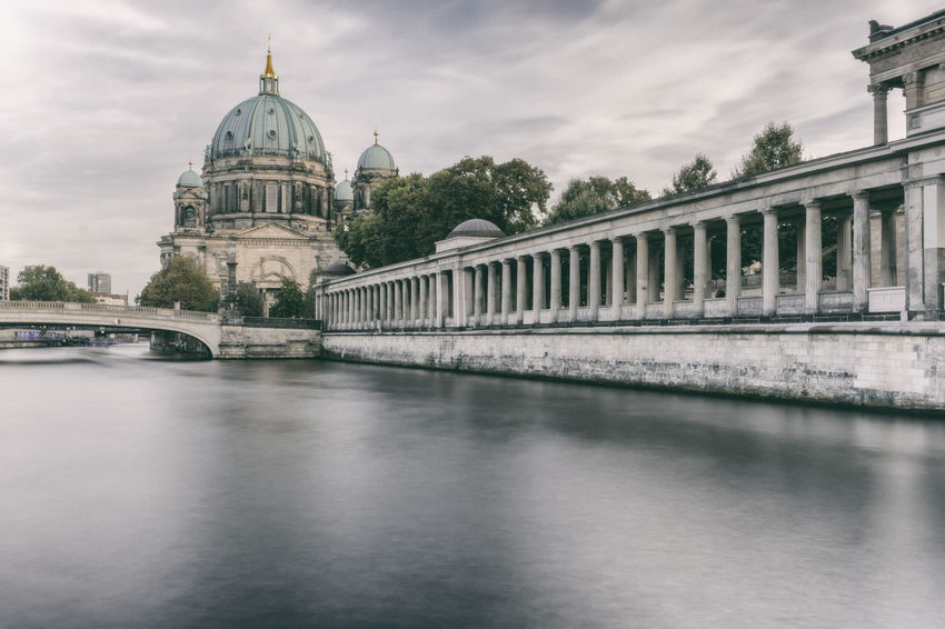 Spree River at Berlin Cathedral Arcade Architecture Berlin Cathedral Berliner Dom Colonnade Pillars Spree River Berlin Tourist Attraction  Water