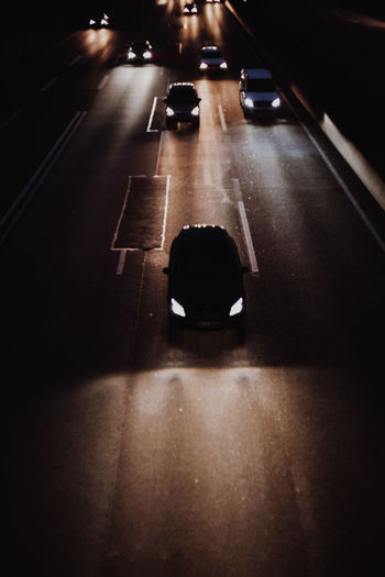High angle view of car on road at night
