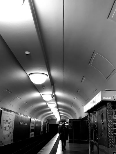 Berlin Berlincity Ubahn Ubahn Berlin Mehringdamm U7 Lighting Contrast Contrast And Lights Lamps Tunnel Tunnel Vision Blackandwhite Indoors  Architecture People One Person Adult Adults Only Day