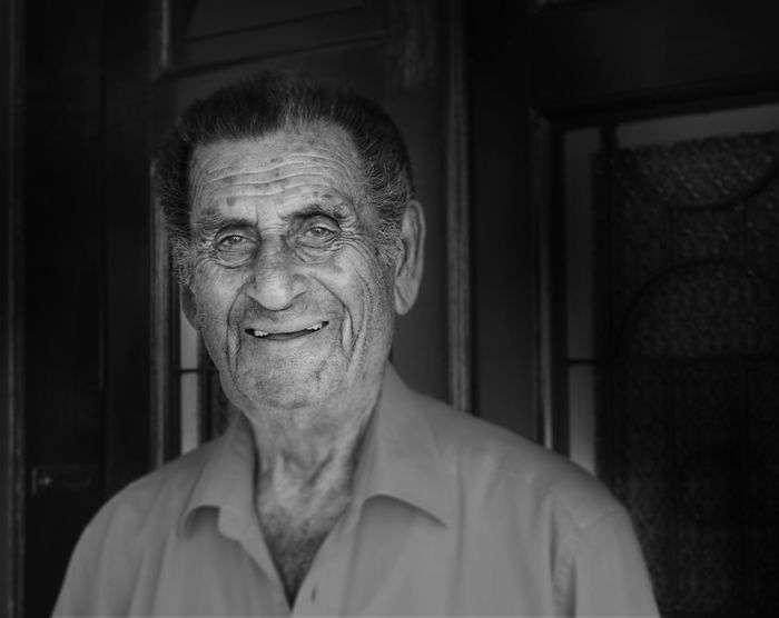 Adult Blackandwhite Close-up Elderly Family Front View Grandpa Grandparents Headshot Home Human Body Part Laughing Looking At Camera Love Nostalgia Old Old Man One Man Only One Person People Portrait Retirement Senior Men Smiling Wrinkles