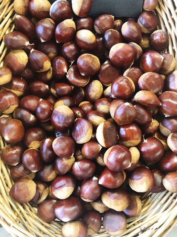 Chestnuts Chestnuts Chestnut Food And Drink Food Healthy Eating Wellbeing Large Group Of Objects Abundance Freshness Still Life High Angle View No People Close-up Backgrounds Full Frame Container Chestnut - Food Brown Market