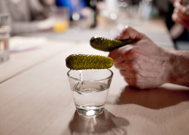 Alcohol Close-up Cucumber Drink Drinking Glass Russian Style Shots Table Vodka