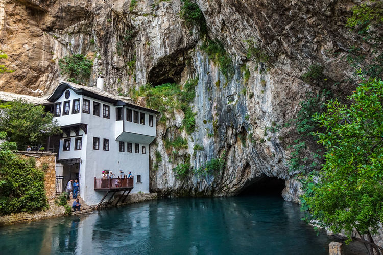Blagaj Blagaj Tekija Bosnia And Herzegovina Nature Rock Travel Architecture Beauty In Nature Building Building Exterior Built Structure Cliff Day Formation House Nature No People Outdoors Plant Rock - Object Scenics - Nature Tourism Travel Destinations Tree Water
