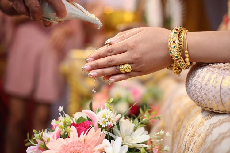Cropped Hands Of Bride And Groom Performing Rituals For Wedding