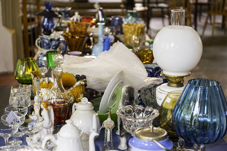 Various objects arranged on table