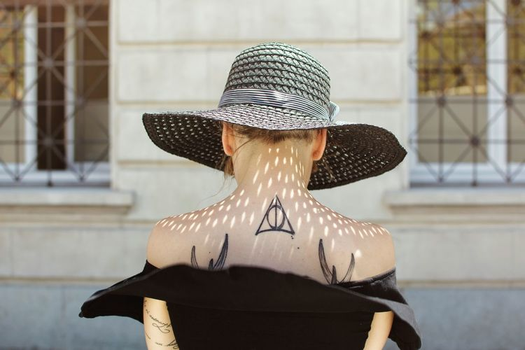 One Woman Only Adult Only Women Adults Only Outdoors Headwear Summer Headdress Hat Tattoo Tattoomodels Tattoolife