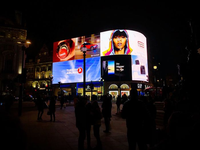 Advertisement display Travel Destinations Lights Centrallondon LONDON❤ Picadillycircus Advertising Night Illuminated Architecture Group Of People Crowd Large Group Of People Built Structure Travel Destinations Nightlife Travel
