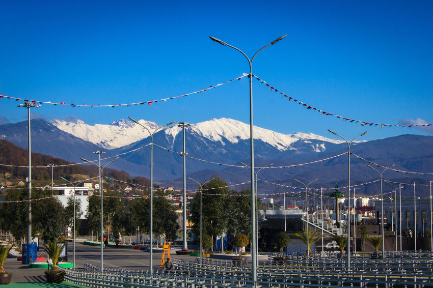 Beauty In Nature Blue Cable Day Landscape Mountain Mountain Range Nature No People Non-urban Scene Outdoors Power Line  Power Supply Scenics Sky Tranquil Scene Tranquility Travel Destinations