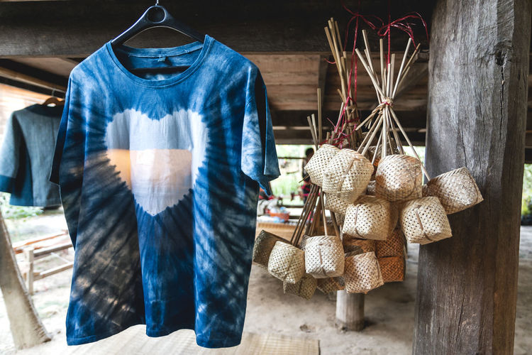Indigo dyed t-shirts, basket weaving, products that are local knowledge of northeastern thai people