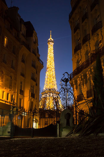 square rapp 19h Tour Eiffel Night Illuminated Tower Architecture Travel Destinations History Vacations