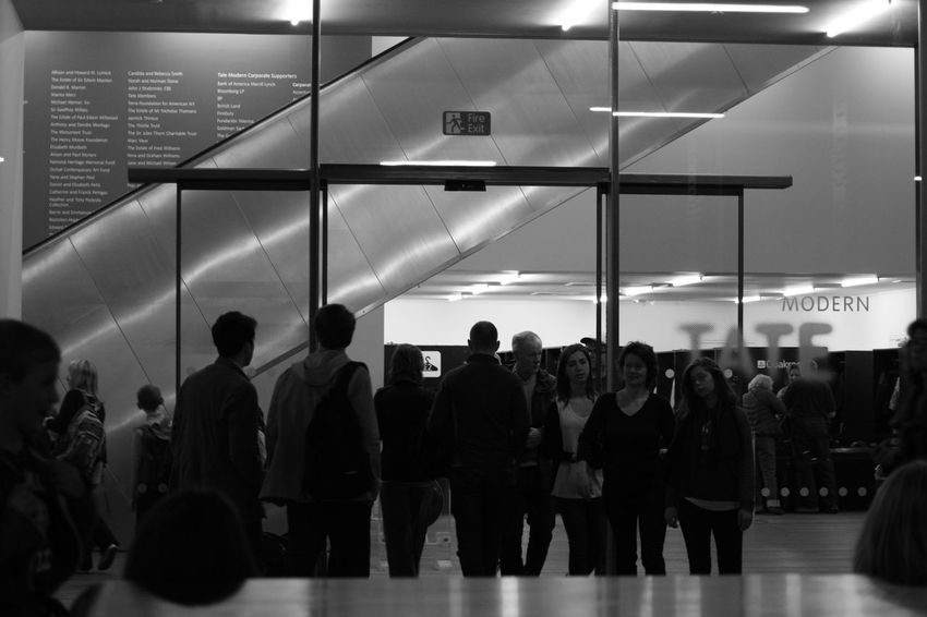 Adult Airport Art Blackandwhite Culture Day Illuminated Indoors  Large Group Of People Men People Standing Tate Modern Travel