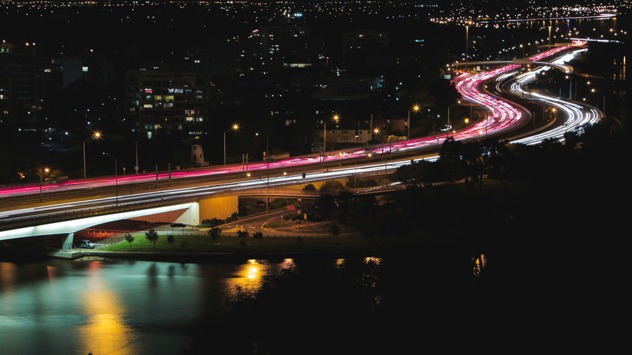 Blurred motion of bridge at night