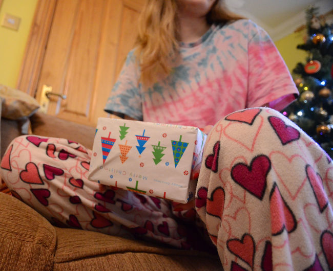 Christmas Christmas Present Gift Holding Home Interior Pajamas Pyjamas