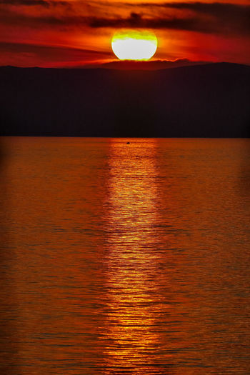 Sky Sunset Sea Scenics - Nature Water Beauty In Nature Orange Color Sun Tranquil Scene Tranquility Cloud - Sky No People Reflection Horizon Nature Idyllic Horizon Over Water Sunlight Waterfront