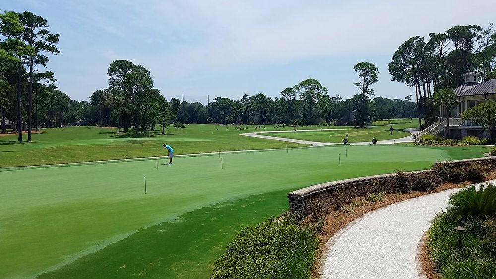 Golf Golf Course Green - Golf Course Sport Leisure Activity Harbour Town Golf Course Hilton Head Island, SC Harbour Town Hilton Head SC Golf Course PGA Play Sports Golfer PUTT Putting Green Putter Walkway Masonry Trees