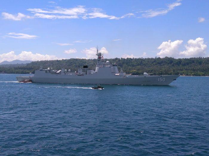 China battle ship depart at Davao City Port...